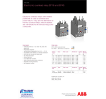 ABB EF series overload relay datasheet